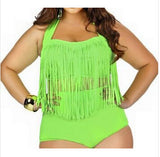 Plus Size Big And Beautiful Womens Retro Fringe Tassel Top Waisted Bik-iuly.com