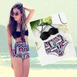 Women Retro Waist Bikini Set Bandeau Push Up Halter Swimwear Swimsuit-iuly.com