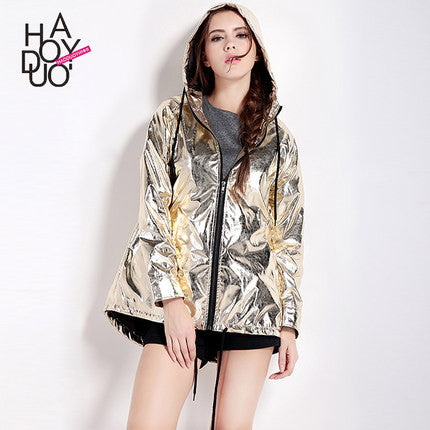Hdy Haoduoyi Women Autumn Golden Solid Loose Punk Style Jackets Zipper-iuly.com