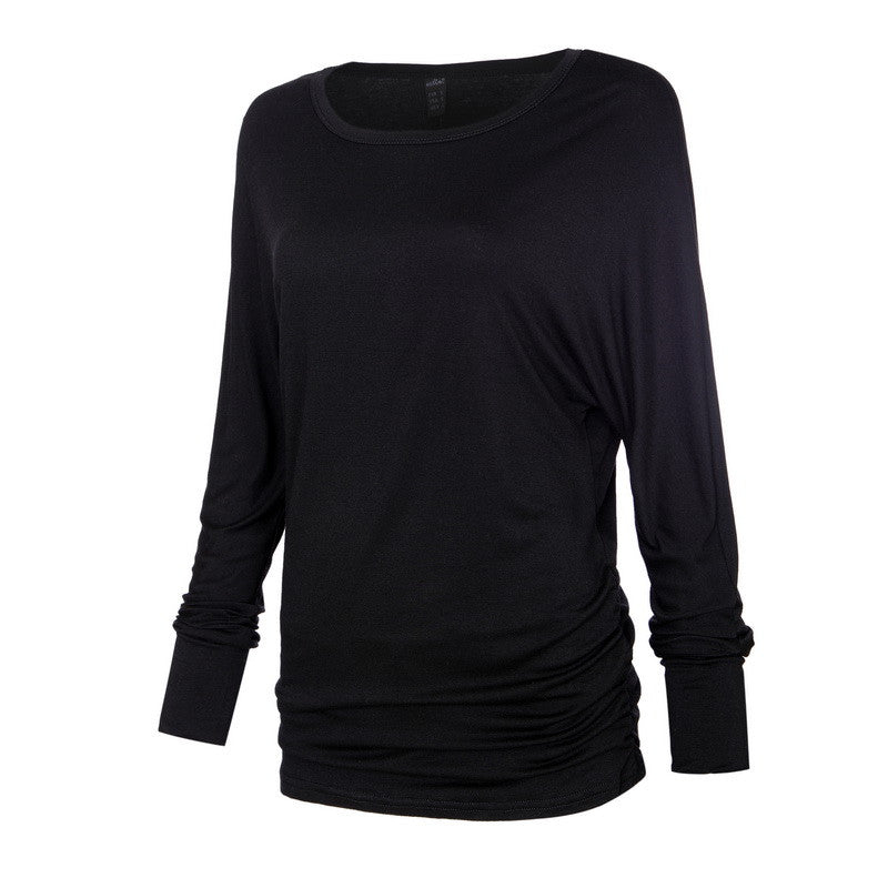 Women O Neck Two Sides Shirring Casual T-Shirt Plus Size Basic Long Sl-iuly.com