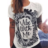 Summer Trend Loose Cotton White Letter T Shirt Prin Tops Women S-iuly.com