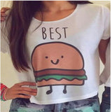 E186 Casual Crop Tops Women Summer Round Neck Friends Print T Shi-iuly.com