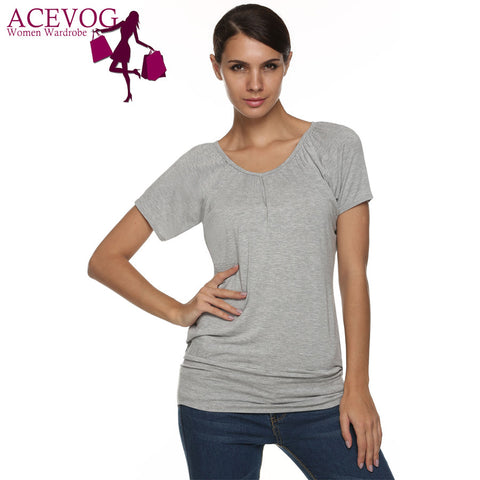 Acevog Summer Tees Tops For Women Short Sleeved Solid Casual T-S-iuly.com