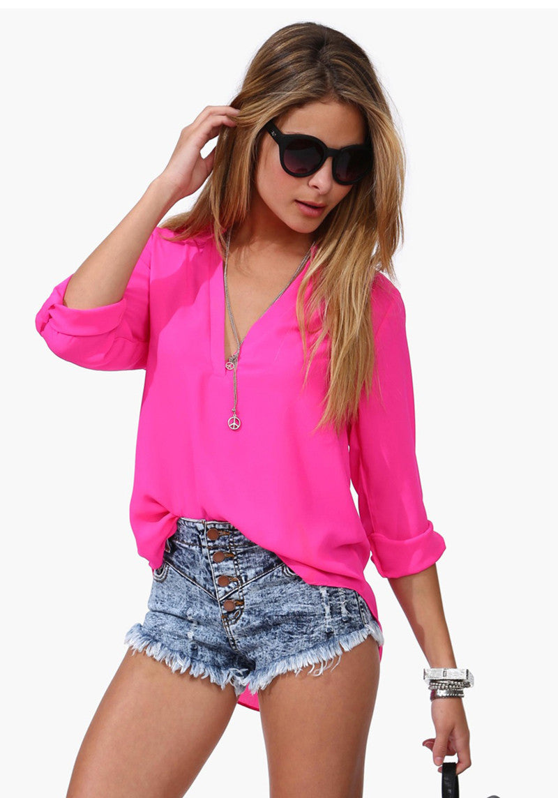 4 Cikir Summer Spring V-Neck Long Sleeve Half Sleeve Womean Solid Shir-iuly.com