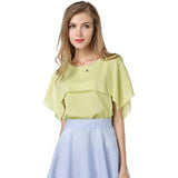 Big Flounce Fake Shawl Loose Sleeveless Chiffon Shirt Large Size Women-iuly.com