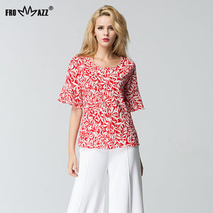 Frommazz Women Lady Summer Causal Round Neck Half Sleeve Printed Flowe-iuly.com