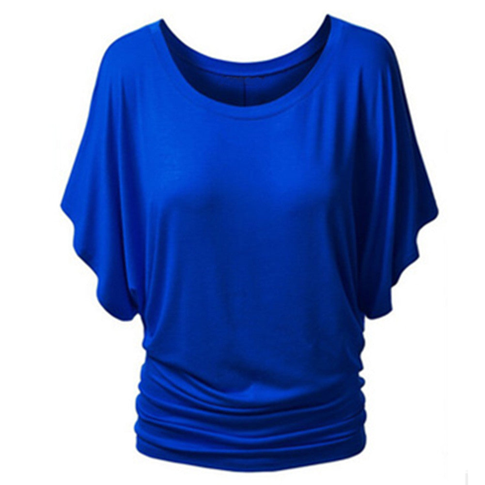 Batwing Sleeve Shirts For Women Summer T Shirt Cotton Blend O-Ne-iuly.com