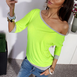 Autumn Cotton Blend Shirt Women Off Shoulder 3/4 Sleeve Casual Leisure-iuly.com