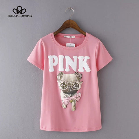 Spring Summer Women T-Shirt Glasses Dog Letter Sequined Short Sleeve O-iuly.com