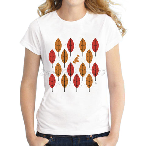 Ladies Autumn Fox Printed Design T Shirt Novelty Tops Lady Custom Prin-iuly.com