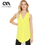 Caya Box Summer Solid Yellow Balck Sleeveless V Neck Chiffon Plus Size-iuly.com