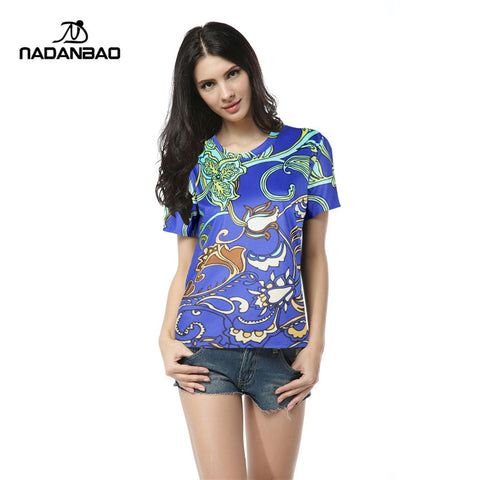Summer Plants Pattern Print T Leisure Woman Tops O-Neck Female Woman S-iuly.com
