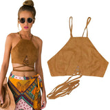 Brown Faux Leather Suede Tank Top Lace Up Camis Women Tops Slim Cami P-iuly.com