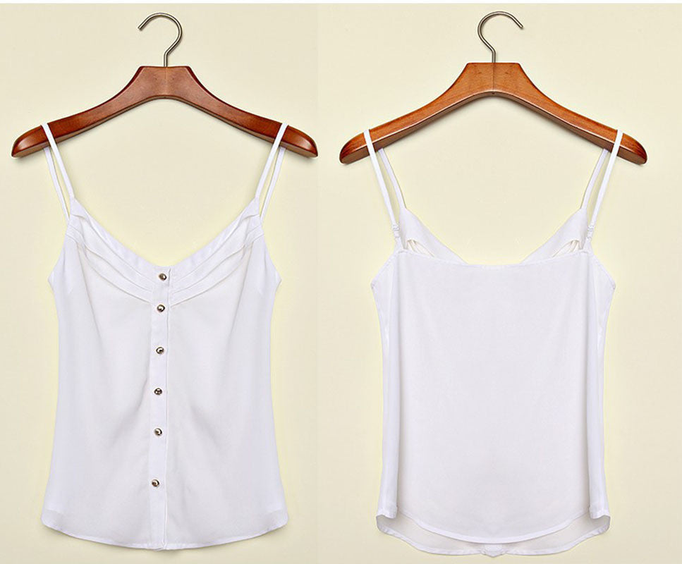 Casual Pleated Adjustable Button Sleeveless Camisole Women V-Neck Spag-iuly.com