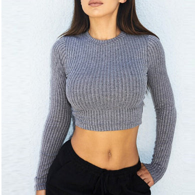 Spring Autumn Women'S Pullover Tops Jumper Gray Backless Long Sleeve S-iuly.com