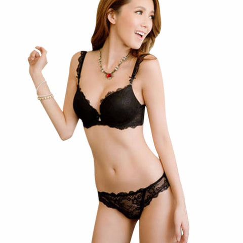 Lace Push-Up Deep V Bra Set Women Underwire Bra Underwear Lingerie Out-iuly.com