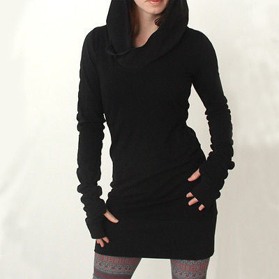 Autumn Women Hooded Ladies Bodycon Hoodies Pullover Tunic Long Hoody S-iuly.com