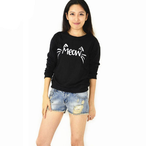 Women Casual Long Sleeve Meow Print Tops Sweatshirt-iuly.com
