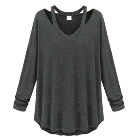 Women Sweatshirt Women Long Sleeve V-Neck Off The Shoulder Hoodies Shi-iuly.com