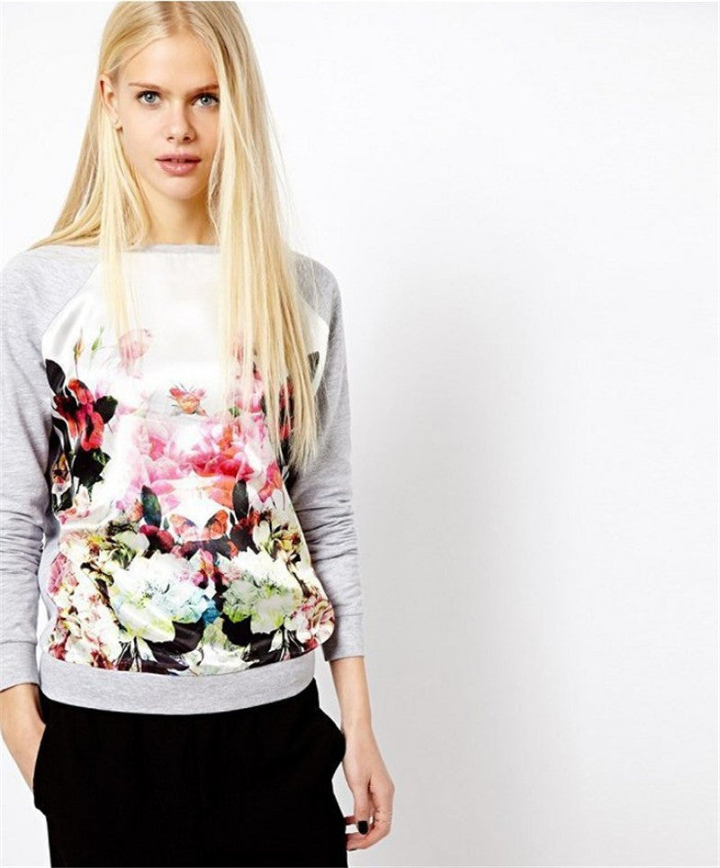 Casual Floral Printed Patchwork Hoodies Sweatshirt Spring Autumn Long-iuly.com