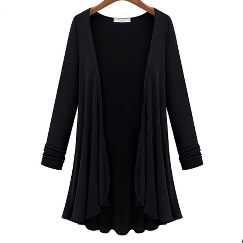Autumn Spring Women Casual Flounce Hemline Solid Color Loose Coat Plus-iuly.com