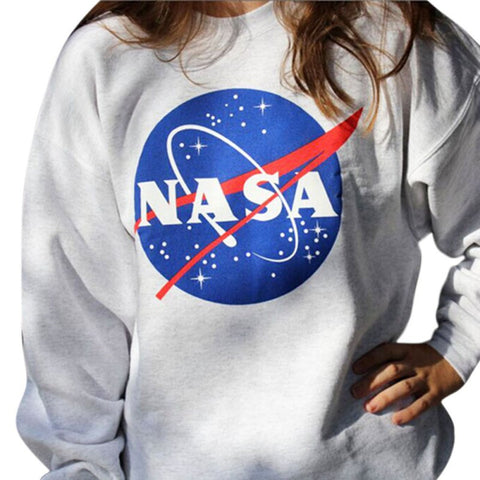 Sweatshirt Women Nasa Printed Pullover Sweatshirt Loose Jumper Basebal-iuly.com