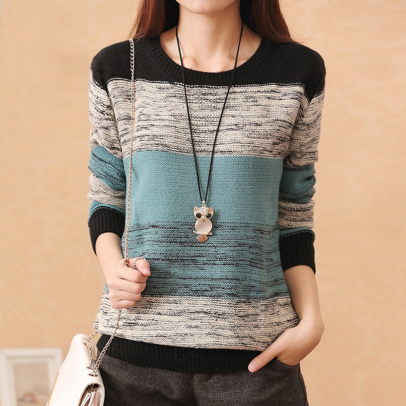 Female Pullovers Knitted Long Sleeve O-Neck Winter Autumn Patchwork Sw-iuly.com