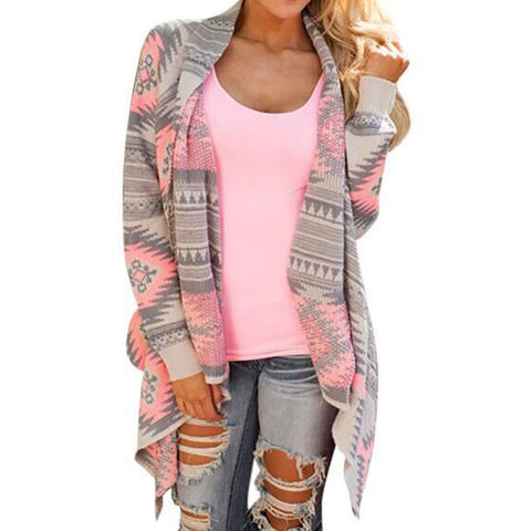 Cardigan Women Spring Long Sleeve Vintage Irregular Geometric Printed-iuly.com