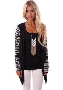 Aztec Sleeve Women Cardigan Female Long Asymmetrical Knitted Sweater C-iuly.com