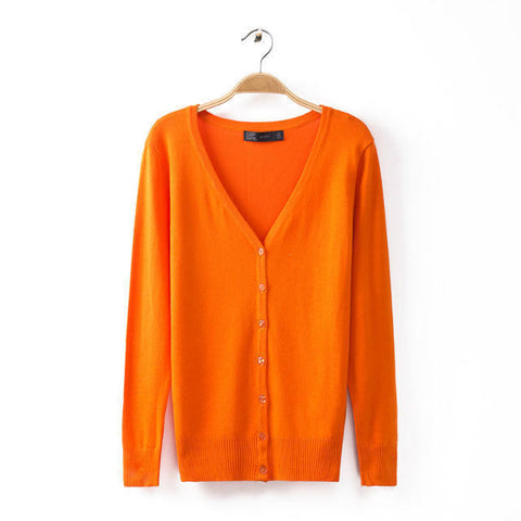 Autumn Women 11 Candy Colors Xxl Size V-Neck Long Sleeve Pullover Knit-iuly.com