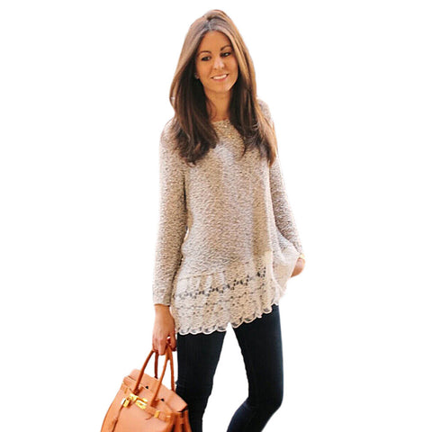 Feitong Women Knitted Sweater Ladies Thin Long Sleeve Lace Blouse-iuly.com