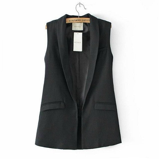Dan12 Women Elegant Office Lady Pocket Coat Sleeveless Vests Jacket Ou-iuly.com