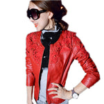 Autumn Pu Leather Bomber Jacket Women Short Coat Ladies Lace Slim Wate-iuly.com