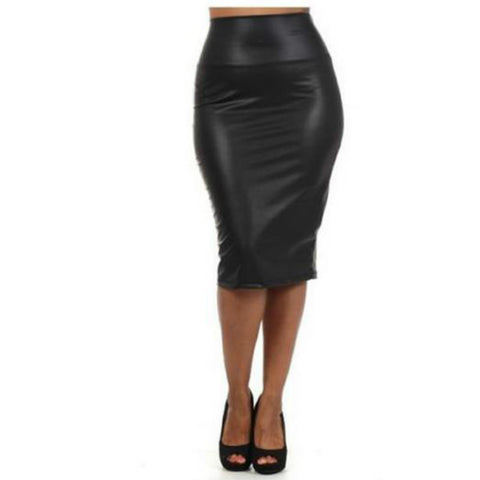 Autumn Winter Waist Leather Skirt Black Red Pencil Skirts Middle Long-iuly.com