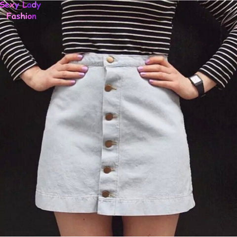 Vintage American Button Apparel Denim Package Hip Skirt Aa Waist Mini-iuly.com