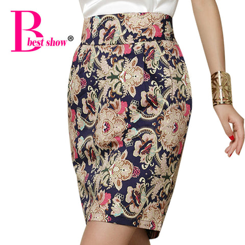 Summer Skirts Women Vintage Printed Women Bodycon Waist Pencil Skirt C-iuly.com