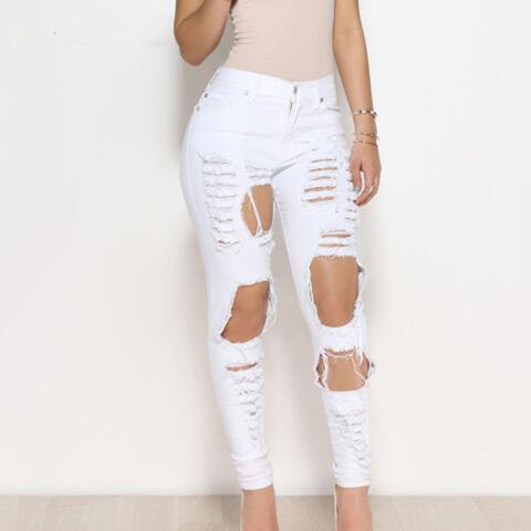 Big Holes Ripped Jeans Tassels Skinny Waisted Pencil Pants Women Trous-iuly.com