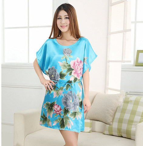 Plus Size Women'S Faux Silk Robe Bath Gown Nightgown Light Blue Summer-iuly.com