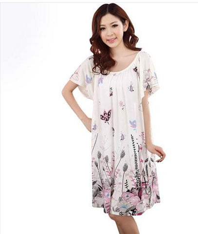 Summer Plus Size Female Cotton Silk Women Nightwear Sleepwear Lounge S-iuly.com