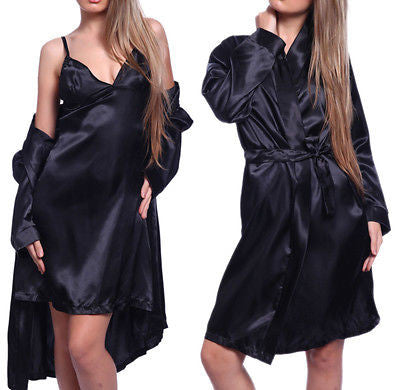 Lady Satin Robe Sleepwear Lingerie Nightdress G-String Set-iuly.com