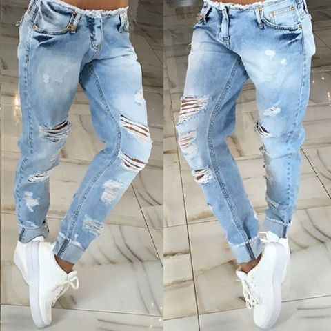 Style Summer Women Jeans Low Waist Pencil Pants Plaid Regular Hollow O-iuly.com