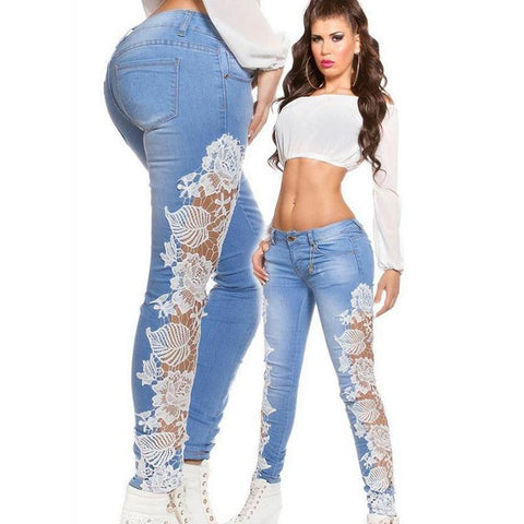 Lace Jeans Woman Girl Hollow Out Flower Hook Tight Feet Pencil Denim P-iuly.com