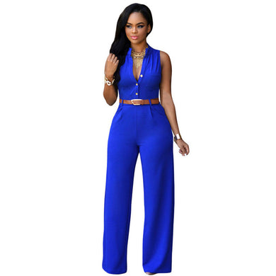 7 Colors Big Women Sleeveless Maxi Overalls Belted Wide Leg Jumpsuit P-iuly.com