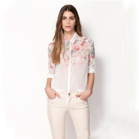 Autumn Clothes Women Casual Floral Style Chiffon Long Sleeve Blouse Tu-iuly.com