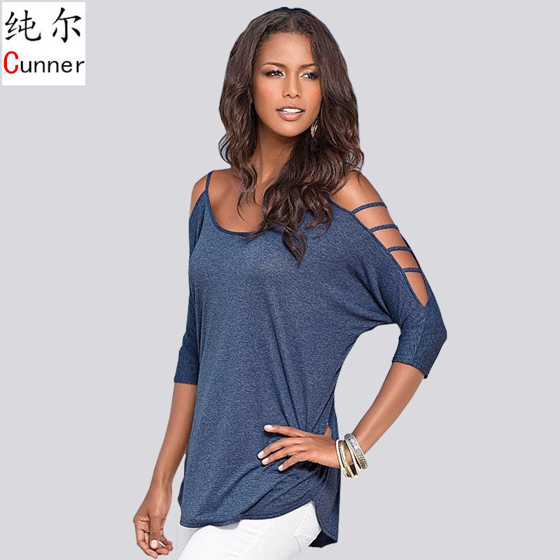 Casual Blouses Shirts Women Tops Spring Summer Half Sleeve O-Neck Blou-iuly.com