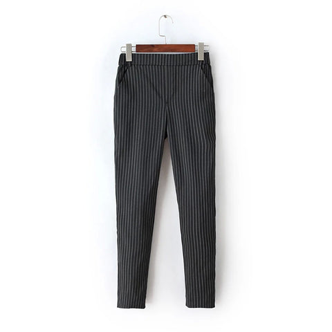 Fa33 Women Elegant Blue Striped Print Pants Elastic Waist Pockets Casu-iuly.com