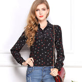Cd29 White Black Long Sleeve Women'S Blouses&Shirts Kiss Red Lip Print-iuly.com