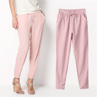 7 Colors Chiffon Pants Autumn Women Long Pants Harem Pants Drawstring-iuly.com