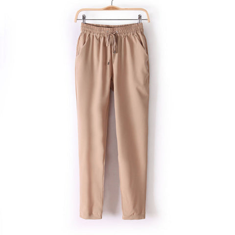 Casual Women Chiffon Pants Elastic Waist Solid Color Office Ol Pants S-iuly.com
