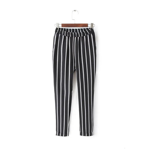 Jn14 England Style Women Streetwear Black Striped Harm Pants Casual Zi-iuly.com